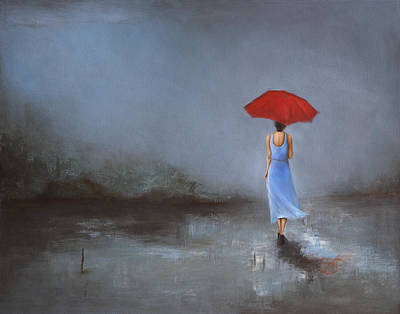 Thunder Painting - Lady With Umbrella by Nicole Daniah Sidonie