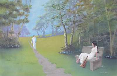 Painting - Lady With Violin Waiting On A Bench by Dominic Sanson