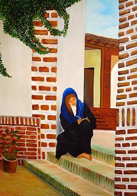 Lady Writing A Love Letter Art Print by Xafira Mendonsa