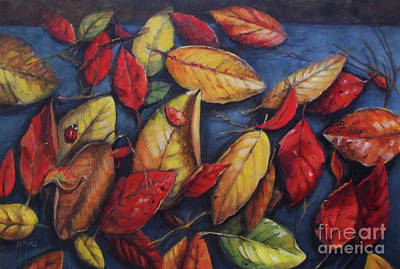 Painting - Ladybug And The Leaves Leaf Autumn Pattern by Mary Hubley