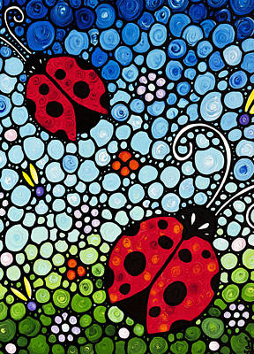 Lady Bug Painting - Ladybug Art - Joyous Ladies 2 - Sharon Cummings by Sharon Cummings