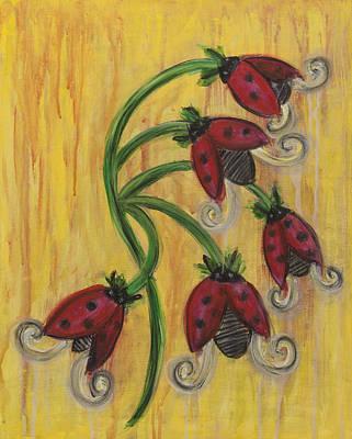 Ladybug Flowers Art Print by Kristen Fagan