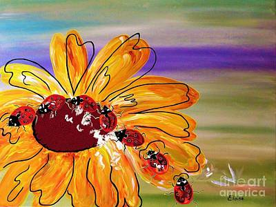 Painting - Ladybug Follow The Leader by Eloise Schneider