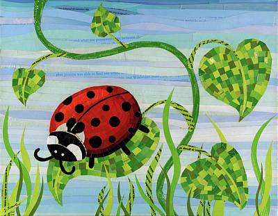 Mosaic-collage Mixed Media - Ladybug Mosaic by Shawna Rowe