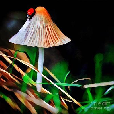 Mushroom Digital Art - Ladybug On Mushroom by Amy Cicconi