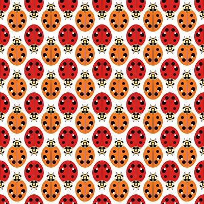 Digital Art - Ladybug Pattern In Orange And Red by MM Anderson