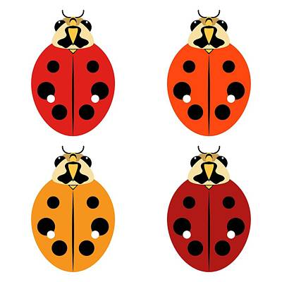 Digital Art - Ladybug Quartet by MM Anderson