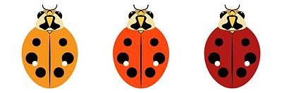 Digital Art - Ladybug Trio Horizontal by MM Anderson