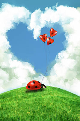 Surrealism Digital Art - Ladybug with heart balloon by Mihaela Pater