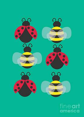 Adorable Digital Art - Ladybugs And Bees by Kourai
