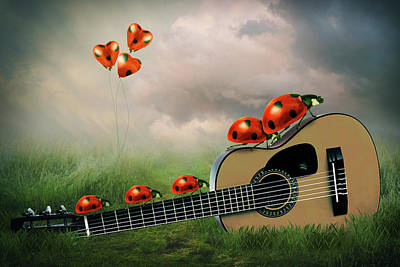 Surrealism Digital Art Royalty Free Images - Ladybugs with guitar Royalty-Free Image by Mihaela Pater