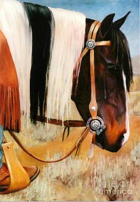 Ladys Jewels Horse Painting Portrait Original by Kim Corpany