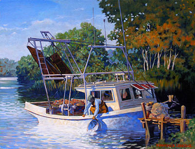 Stream Painting - Lafitte Skiff by Kevin Lawrence Leveque