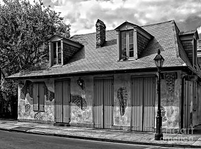 Creole Cottage Wall Art - Photograph - Lafittes Blacksmith Shop Bar In Black And White by Kathleen K Parker