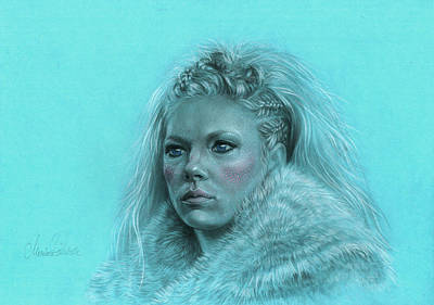 Lagertha Drawing - Lagertha Shieldmaiden by Marina Pacurar