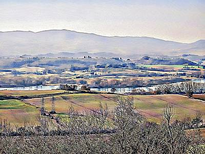 Tuscan Hills Digital Art - Lago Di Chiusi Landscape 1 by Dorothy Berry-Lound