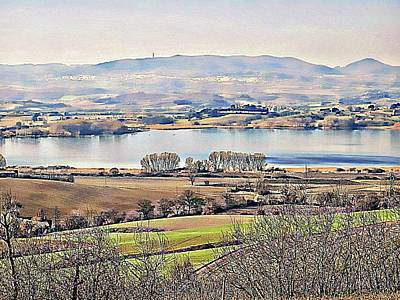 Tuscan Hills Digital Art - Lago Di Chiusi Landscape 2 by Dorothy Berry-Lound