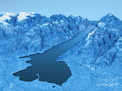 Blue Digital Art - Lago Di Garda Topographic Map 3d Landscape View Blue Color by Frank Ramspott