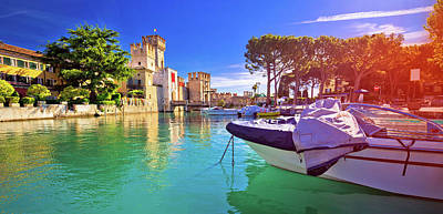 Photograph - Lago Di Garda Town Of Sirmione Turquoise Watefrront Panoramic Vi by Brch Photography