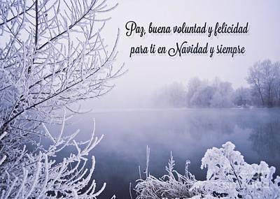 Digital Art - Lago Nieve Navidad by JH Designs
