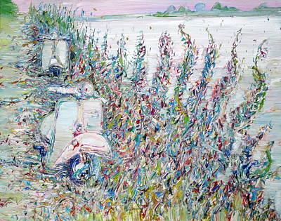 Motorbike Painting - Lagoon by Fabrizio Cassetta