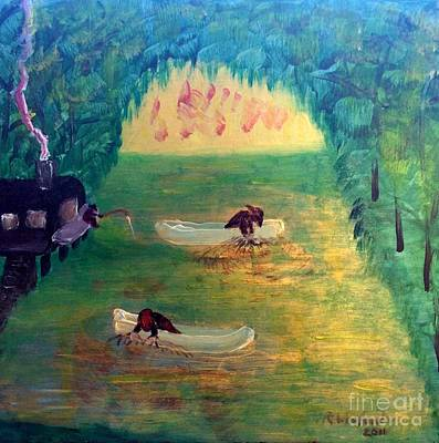Painting - Lagoon Net Fishing by Richard W Linford