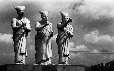 Photograph - Statues Of Three White-cap Chiefs--h by Muyiwa OSIFUYE