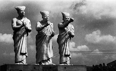 Photograph - Statues Of Three White-cap Chiefs--h by Muyiwa OSIFUYE