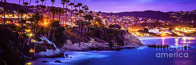 Orange County Photograph - Laguna Beach At Night Panorama Picture by Paul Velgos
