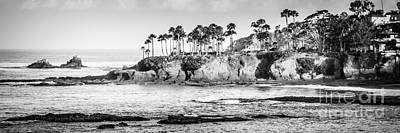 Orange County Photograph - Laguna Beach Black And White Panoramic Picture by Paul Velgos
