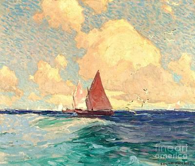 Yachting At Laguna Beach California 1921 Art Print