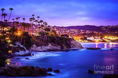 Laguna Beach California City At Night Picture Art Print