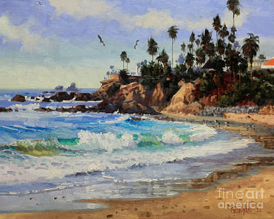 Flying Seagull Painting - Laguna Beach  by Gary Kim