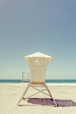 Orange County Photograph - Laguna Beach Lifeguard Tower Retro Photo by Paul Velgos