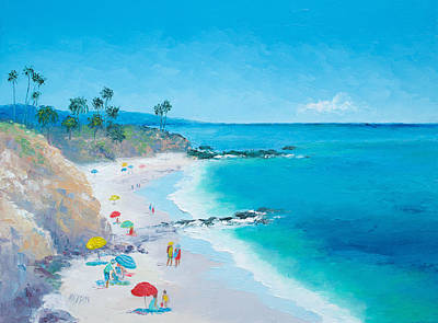 Laguna Beach Umbrellas Art Print by Jan Matson