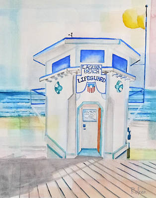 Laguna Beach Painting - Laguna Lifeguard Tower by Roleen Senic