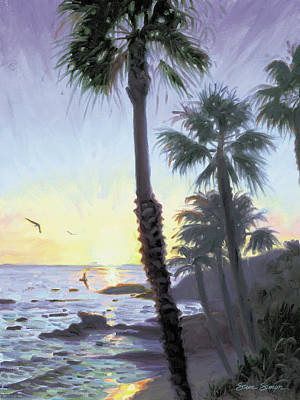 Laguna Beach Wall Art - Painting - Laguna Sunset by Steve Simon