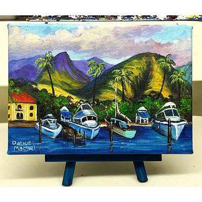 Artist Wall Art - Photograph - Lahaina Harbor 5x7 Acrylic Painting Now by Darice Machel McGuire