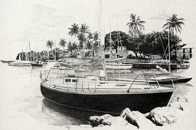 Drawing - Lahaina Harbour by Frank Townsley