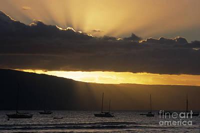 Lahaina Sunset - Maui Art Print by Sandra Bronstein