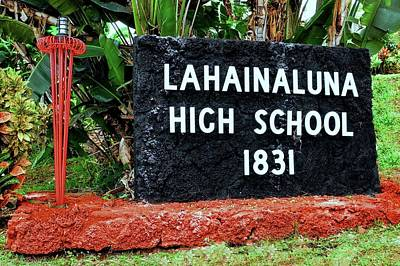 Photograph - Lahainaluna High School Sign by Kirsten Giving