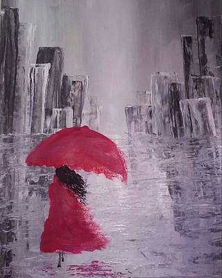 Art Print featuring the painting Laidy In The City Abstract Art by Sheila Mcdonald