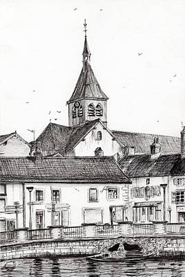 Street Lamps Drawing - Laignes France by Vincent Alexander Booth