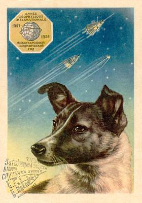 Laika The Space Dog Postcard Art Print