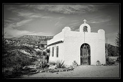 Photograph - Lajitas Chapel Black And White by Judy Vincent