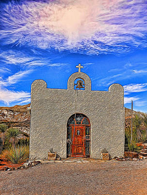 Photograph - Lajitas Chapel Painted by Judy Vincent