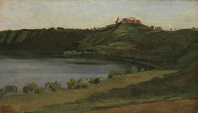 Lake Albano And Castel Gandolfo Art Print by Jean-Baptiste-Camille Corot