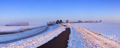 Markermeer Photograph - Lake And Dike At Sunrise In Winter In The Netherlands by Sara Winter