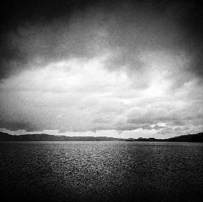 Landscapes Wall Art - Photograph - Lake And Dramatic Sky Black And White by Matthias Hauser