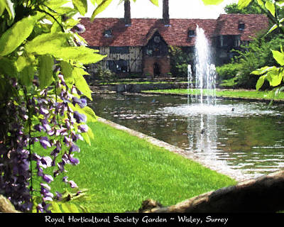 Lake And Fountain At Rhs Wisley Art Print